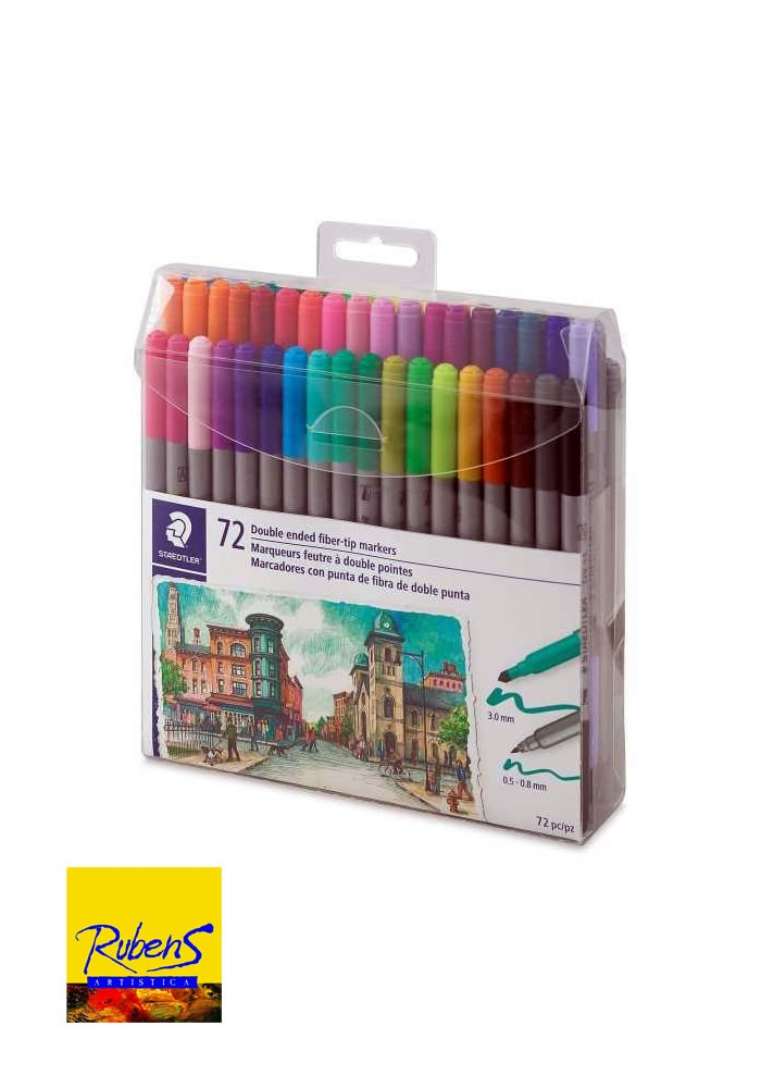 SET DE MARCADORES STAEDTLER TWIN TIP 3200 x 72 COLORES
