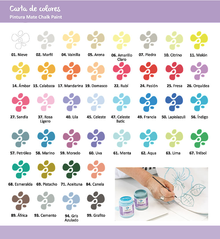 carta de colores de pinturas chalk